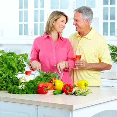 Aging Gracefully Couple Enjoying Healthy Food